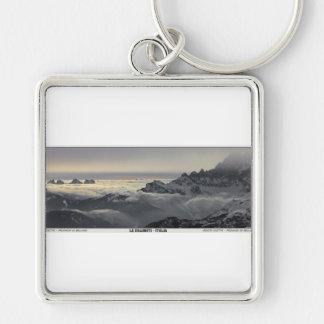 Sella Ronda - Monte Civetta Panorama Silver-Colored Square Keychain