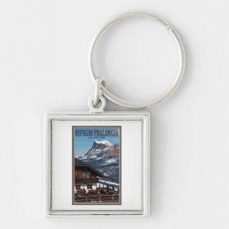 Sella Ronda - Rifugio Pralongia Silver-Colored Square Keychain