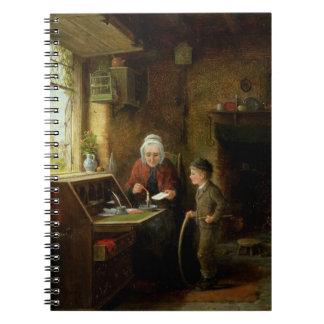 Sellando una letra, 1890 (aceite en el panel) libro de apuntes