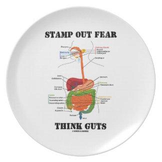 Selle hacia fuera el miedo piensan la tripa (el hu plato de comida