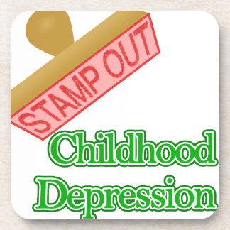Selle hacia fuera la depresión de la niñez posavasos de bebida