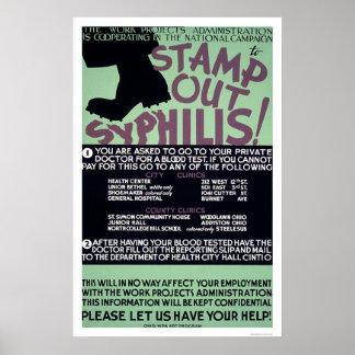 Selle hacia fuera la sífilis WPA 1940 Posters