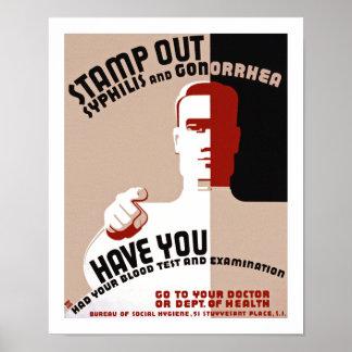 Selle hacia fuera la sífilis y la gonorrea impresiones
