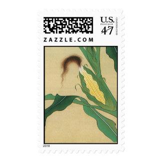 Selle la espiga madura de seda del trigo y finales sellos postales