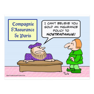 Selling insurance to Nostradamus Postcard