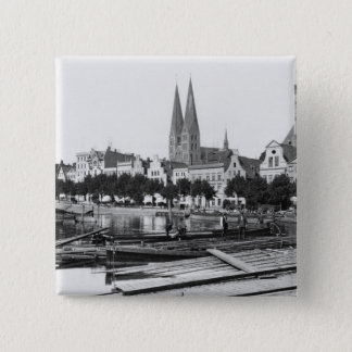 Selling wood on the River Trave, Lubeck, c.1910 Pinback Button