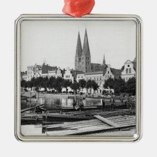 Selling wood on the River Trave, Lubeck, c.1910 Square Metal Christmas Ornament