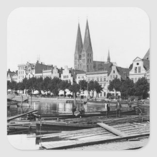 Selling wood on the River Trave, Lubeck, c.1910 Square Sticker