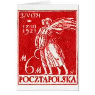 sello 1921 6m polaco tarjeta de felicitación