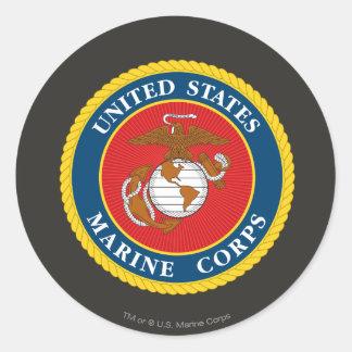 Sello 1 del Cuerpo del Marines Pegatina Redonda