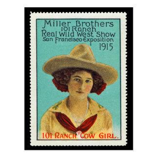 Sello #3 del poster de la vaquera de 101 ranchos,  postales
