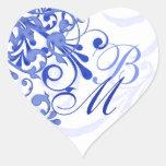 Sello abstracto azul y blanco del sobre floral pegatinas corazon personalizadas
