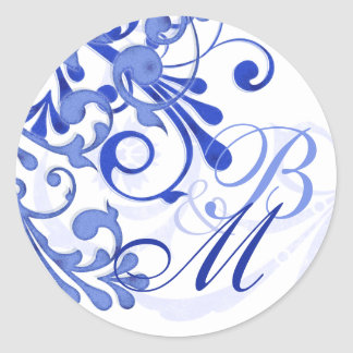 Sello abstracto azul y blanco del sobre floral pegatina redonda