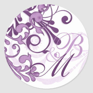 Sello abstracto púrpura y blanco del sobre floral etiqueta redonda
