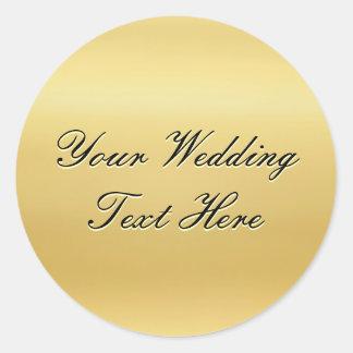 Sello adaptable del boda del oro pegatina redonda