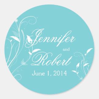 Sello afiligranado floral azul del sobre de la pegatina redonda