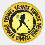 Sello agradable del tenis (femenino) pegatina redonda