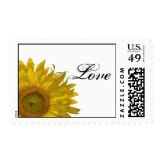Sello amarillo del boda del amor del girasol