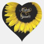Sello amarillo V01 del sobre del girasol Calcomanías Corazones Personalizadas