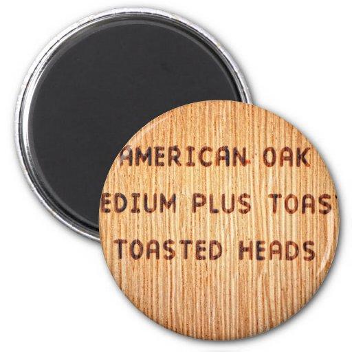Sello americano del barril de vino del roble imán redondo 5 cm