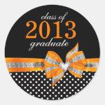 Sello anaranjado blanco negro de la graduación del pegatina redonda