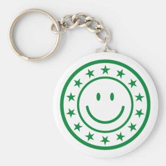 Sello aprobado smiley verde llavero redondo tipo pin