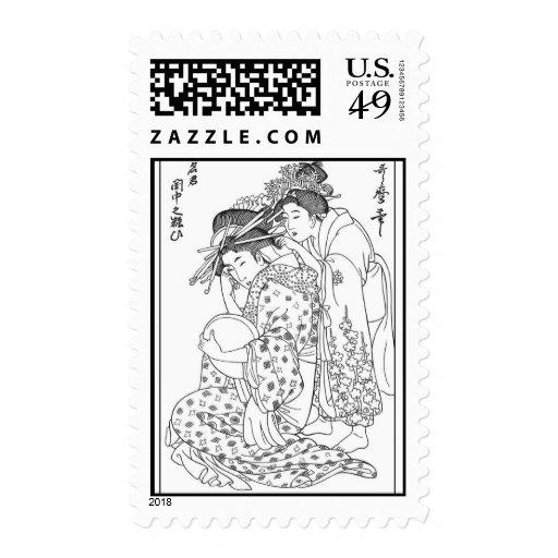 Sello asiático del geisha por el ASM