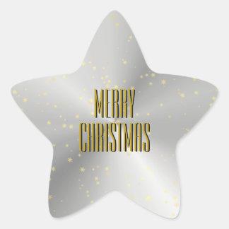 Sello asteroide de plata del sobre del navidad pegatina en forma de estrella