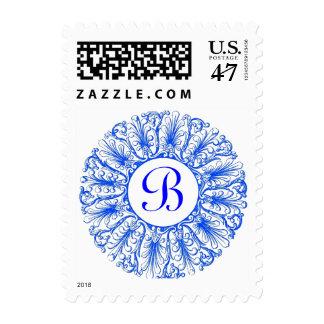 Sello azul adornado de la letra B del monograma