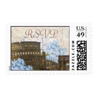 Sello azul antiguo de RSVP del Hydrangea de Roma