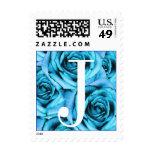 Sello azul claro de los rosas de la letra J del mo