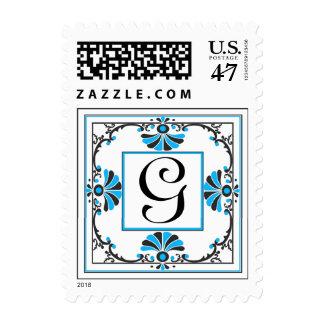 Sello azul de G de la letra adornada del monograma