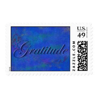 Sello azul de la gratitud de la escritura
