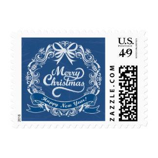 Sello azul de la guirnalda del navidad de la pizar