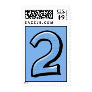 Sello azul de los números 2 tontos