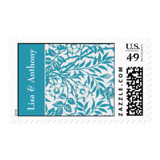 sello azul de los ornamentos florales