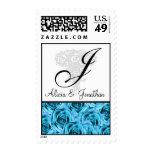 Sello azul de los rosas de la letra J del monogram