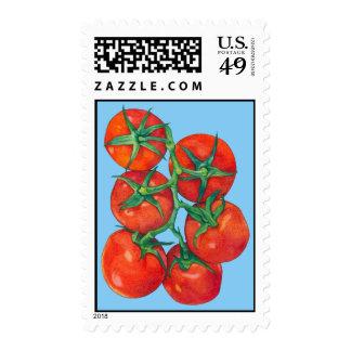 Sello azul de los tomates rojos
