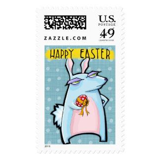Sello azul de Pascua del conejo malhumorado