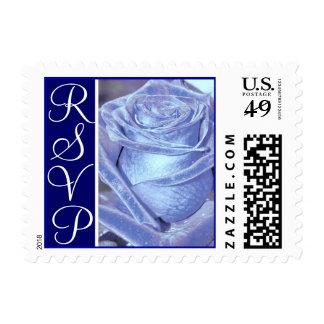 Sello azul de RSVP de los rosas