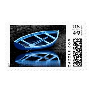Sello azul del barco de Rowing
