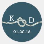 Sello azul del boda del nudo náutico de la cuerda pegatinas redondas