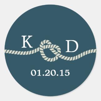 Sello azul del boda del nudo náutico de la cuerda pegatina redonda