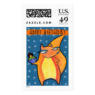 Sello azul del cumpleaños malhumorado de la ardill