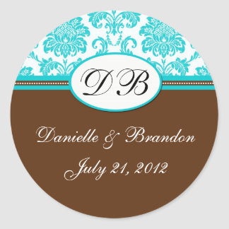Sello azul del damasco del monograma del boda de pegatina redonda