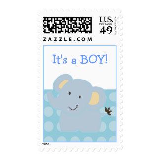 Sello azul del elefante del bebé:: Doodle de la gu