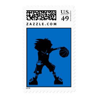 Sello azul del jugador de básquet