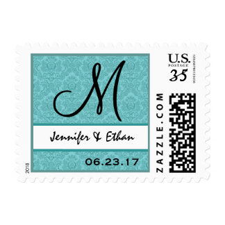 Sello azul del monograma del damasco del boda de