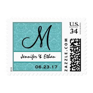 Sello azul del monograma del damasco del boda de l