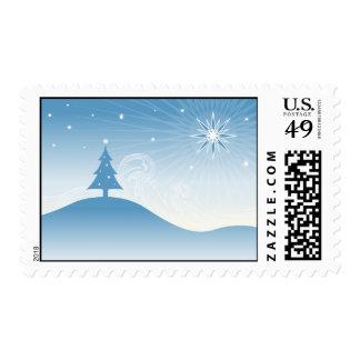 Sello azul del navidad del país de las maravillas